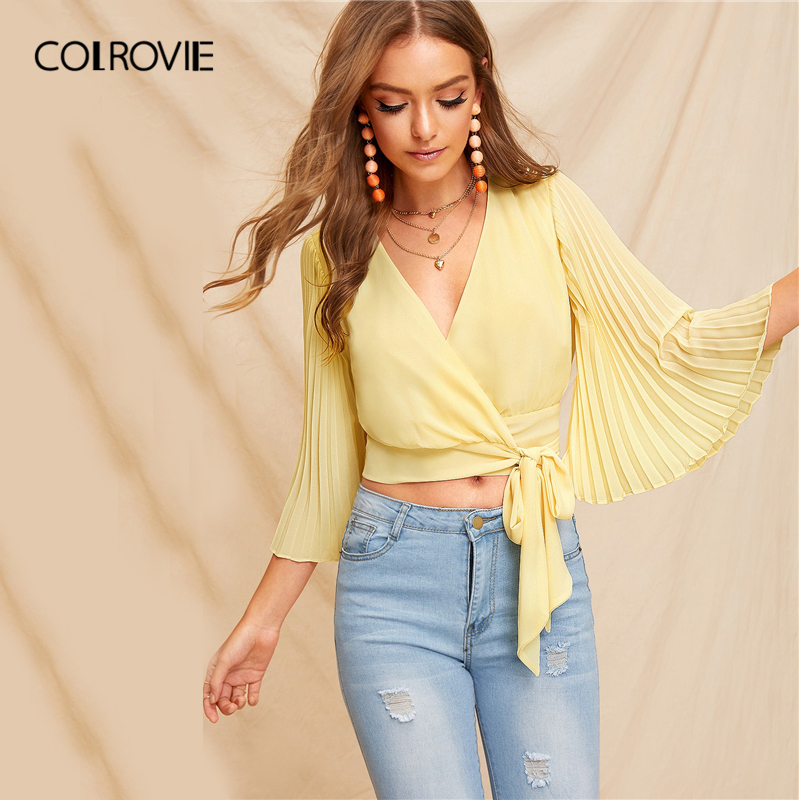 COLROVIE Yellow V Neck Pleated Bell Sleeve Wrap   Blouse     Shirt   Women Crop Top 2019 Summer Korean Style Holiday Wear Ladies   Shirts