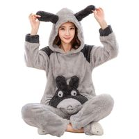 2019 Winter Totoro Couple Pajama Sets Animal Warm Sleepwear For Women/Men Coral fleece cartoon cosplay costume 102107
