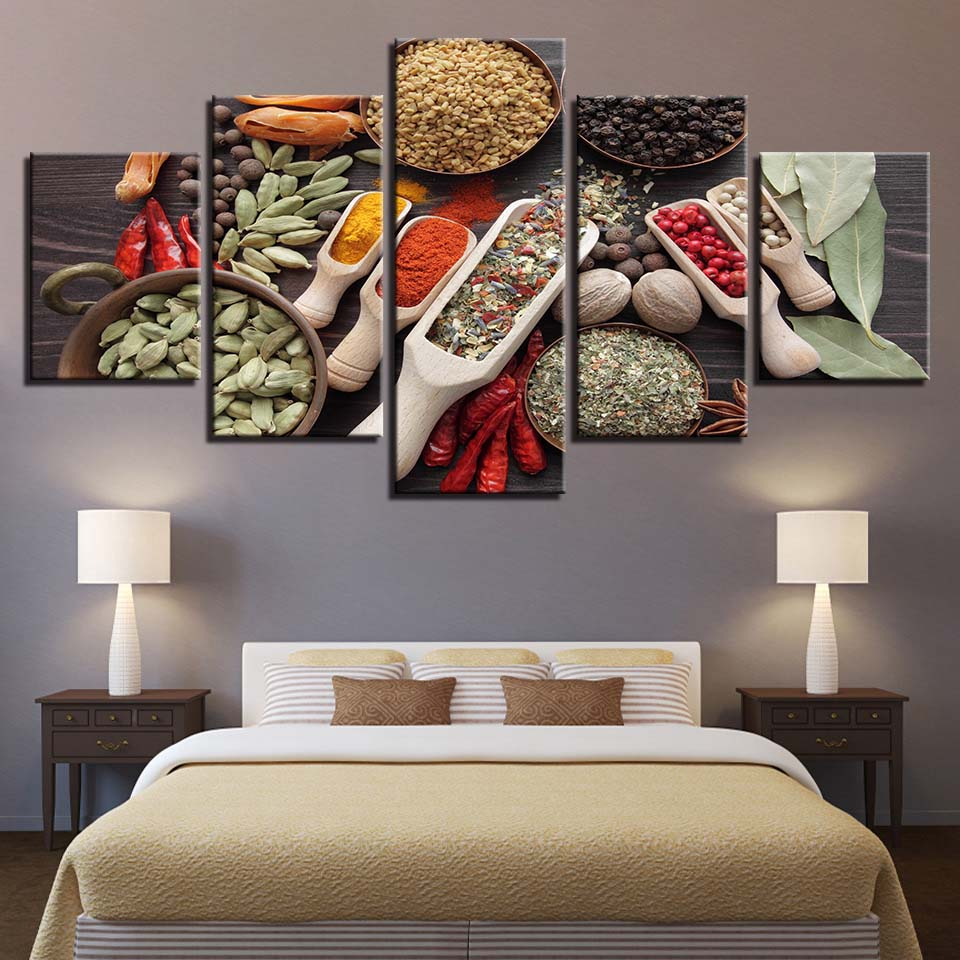 HD Wall Art Printed Modern Frame Canvas Poster 5 Panel Hot Pot Bed Charge Pictures Home Decor Living Room Modular Painting