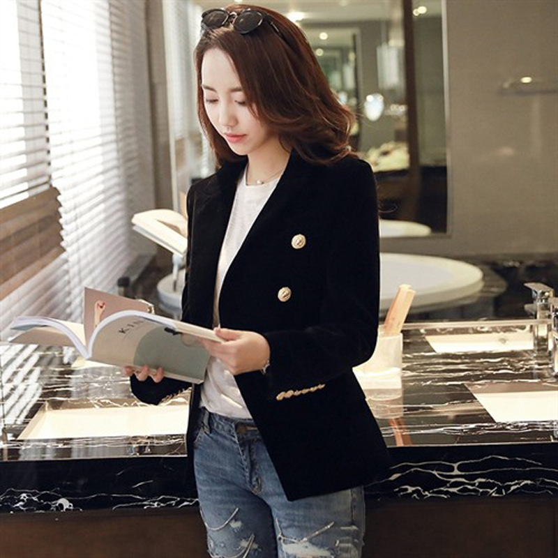 2019 autumn pleuche suit slim women's  European  American style female occupation solid single button casual small jacket