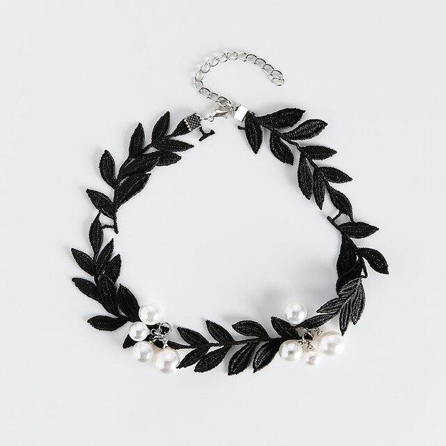 2017 Korean Fashion Statement Necklace Temperament Lace Leaf Simulated Pearl Bea