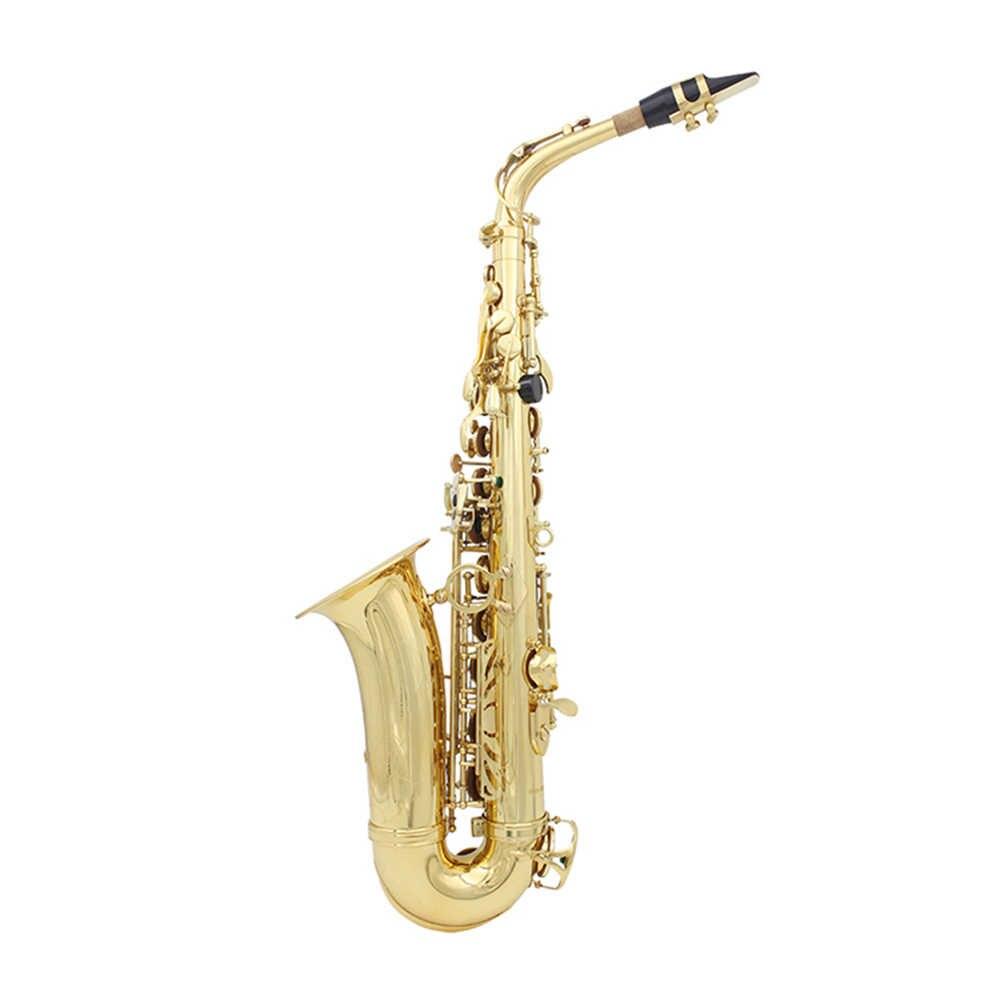 Latão Lacado Ouro Saxofone alto Eb Sax Instrumento de Sopro com Caso Luvas Bocal Escova de Limpeza Escova de Pano Cinta Mudo
