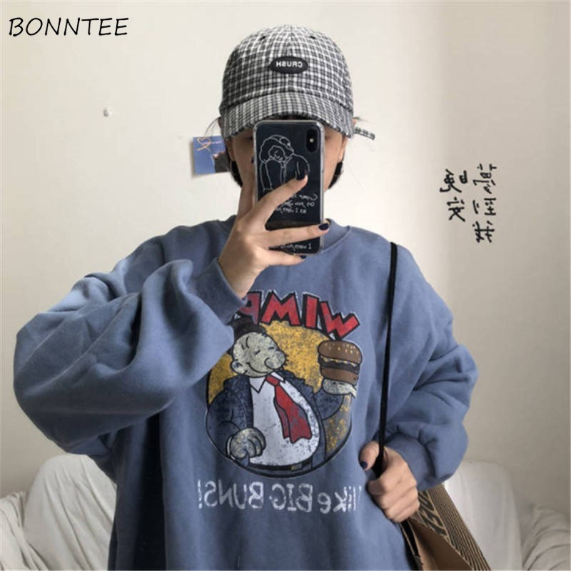 Hoodies Women Autumn Winter Trendy Korean Style Casual Simple Cartoon Kawaii Harajuku Ulzzang All-match Womens Clothing Chic