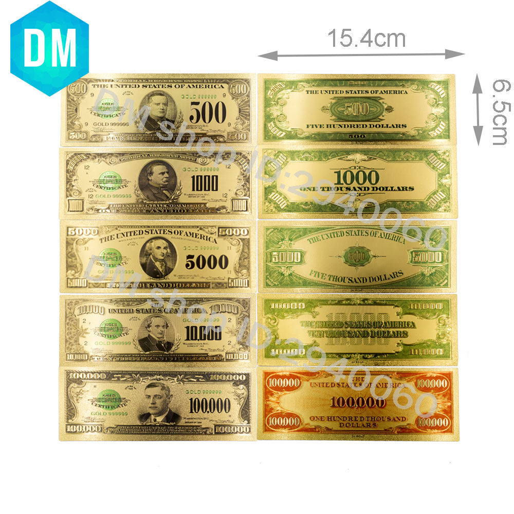 1918 Year American Dollar Bills 24k 999.9 Gold Plated US Fake Money 24k Gold Banknote Metal Crafts for Home Decor and Collection
