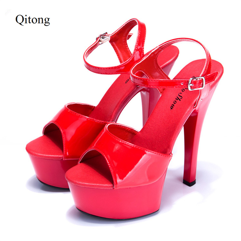 Euro Size 34-44 Mirror PU Woman 15cm High Heel Platform Sandals Nightclub Birthday Wedding Party Shoes for T Station Cat Walk  euro size 34 44 pu woman 15 and 17cm high heels platform sandals nightclub woman high heeled birthday party shoes for t station