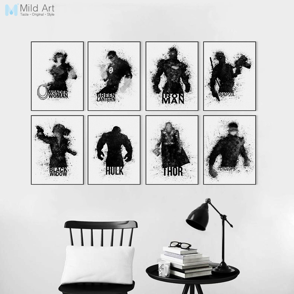 Watercolor black white superhero avenger infinity war movie posters prints kids room wall art picture home decor canvas painting