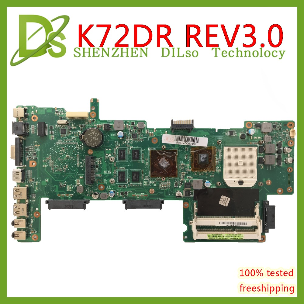 KEFU K72DR Motherboard For Asus K72DR X72D K72DY K72DE A72D K72DR K72D Laptop Motherboard  REV 8 Memory PM Test Work 100%
