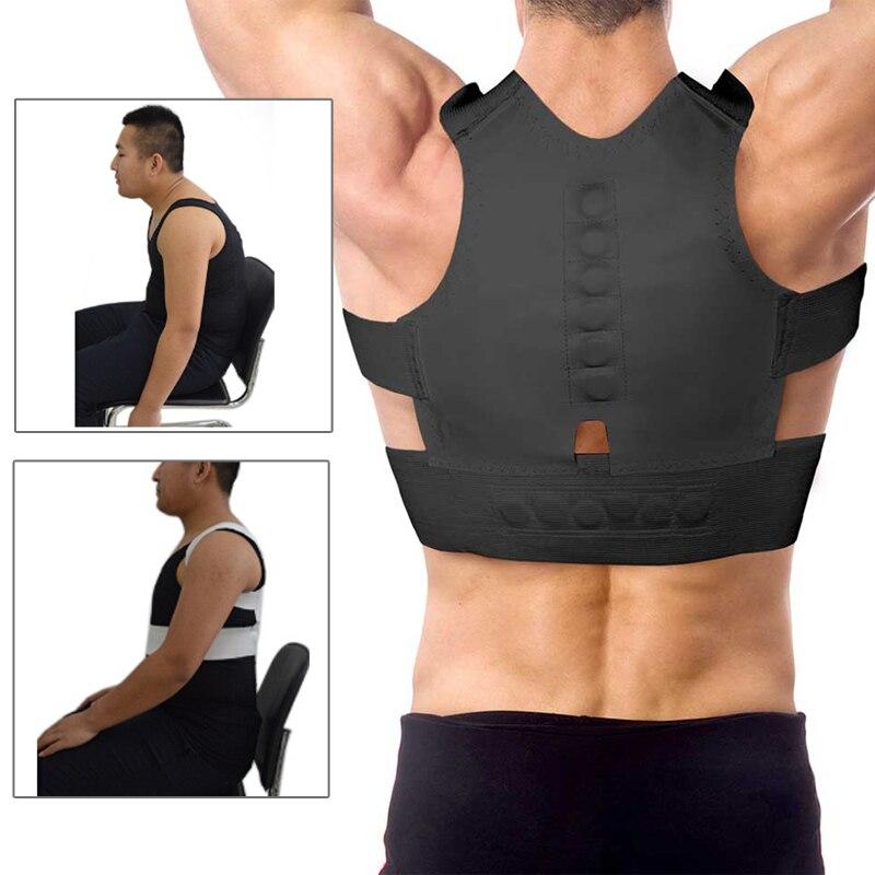 Cinturón ajustable para hombres corsé ortopédico correa trasera inferior cinturón de apoyo soporte hombro magnético postura Corrector cinturones rectos