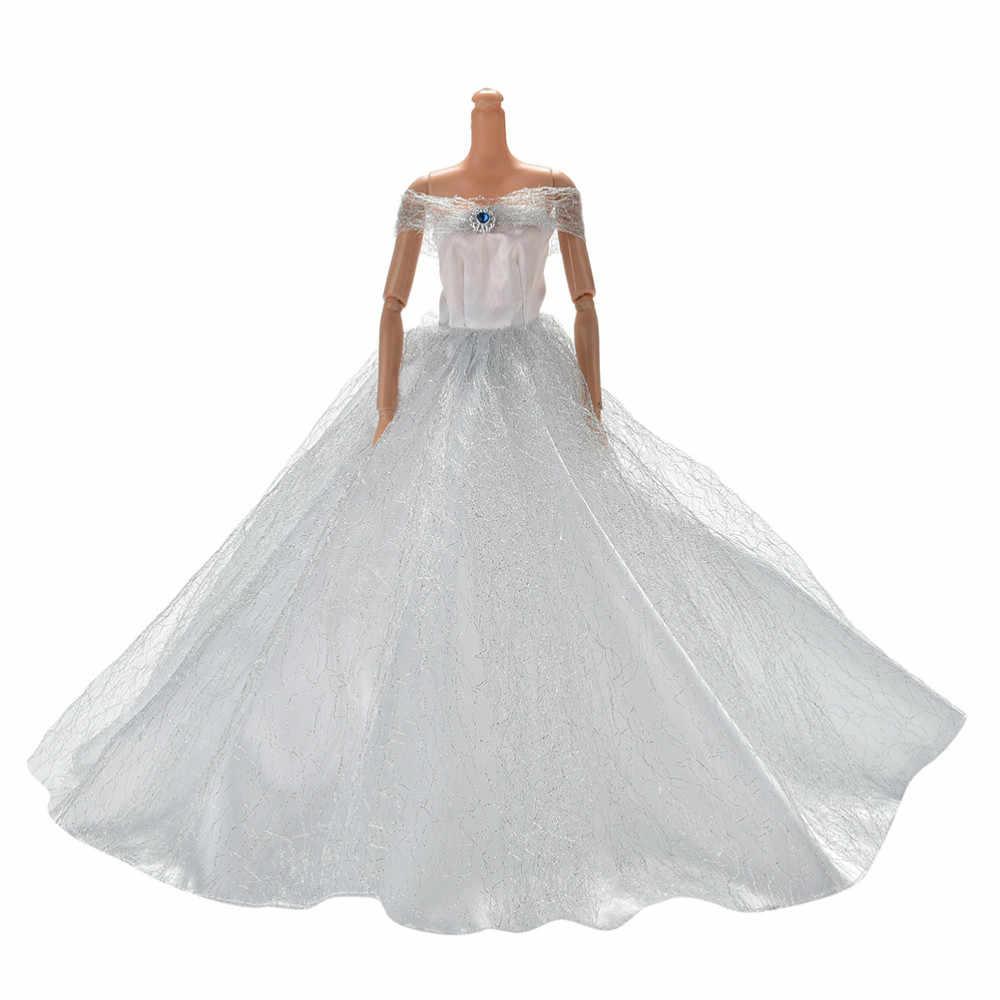エレガントホワイトハンドメイドウェディングプリンセスドレス人形花人形ドレス服服マルチ層人形アクセサリー