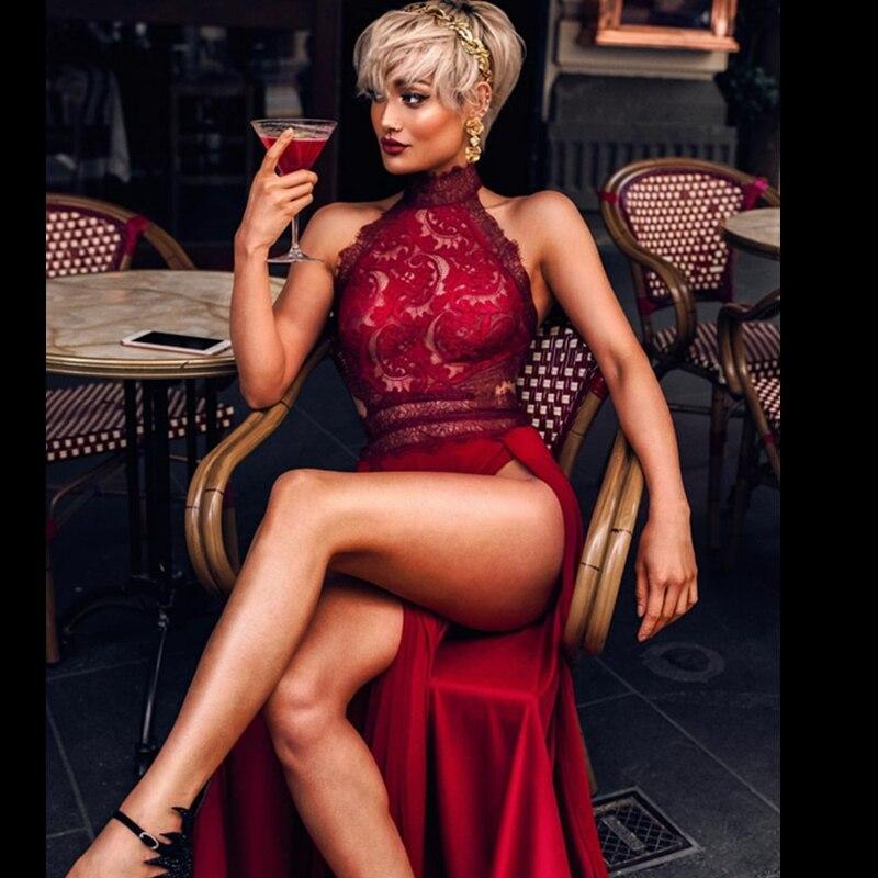 Maxi Blanc Évider Élégant Dentelle Rouge Fendue 2018 Noir Soirée Festa Arrivée Robes Robe Nouvelle Célébrité Mode Longue cqwCBYHz