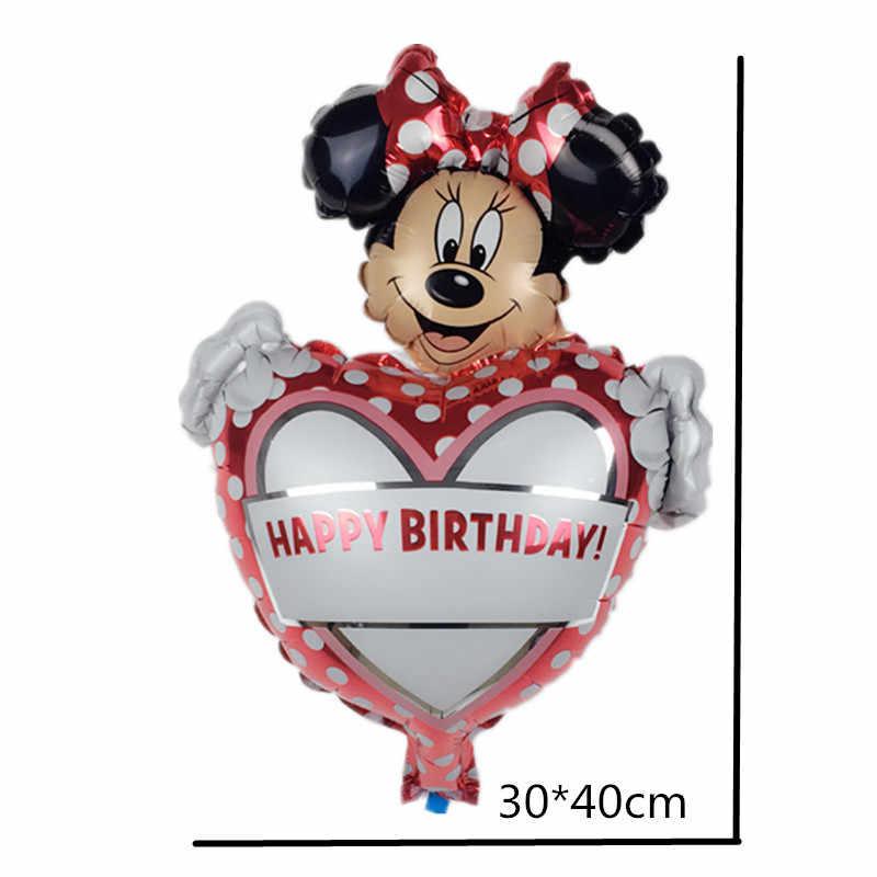 1pc 30*40cm trzymając serce z okazji urodzin Mickey Minnie Mouse balony z folii aluminiowej cartoon dekoracja na przyjęcie ślubne globos