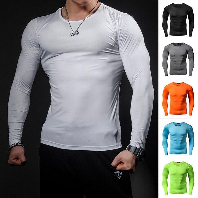 Moda Pure color szybkie pranie kompresja koszulka długie rękawy T Shirt odzież fitness dużych rozmiarów jednolity kolor kulturystyka crossfit