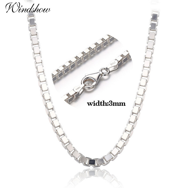 c392609d32c2d 7 Sizes Available Real Pure 925 Sterling Silver Box Chain Necklace Women  Men Jewelry Heavy kolye collares 35 40 45 50 55 60 80cm