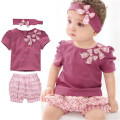 girls children short sleeve kids sets baby suits the present fashion casual cotton prints bowknot soft candy 0-2 year 3 piece
