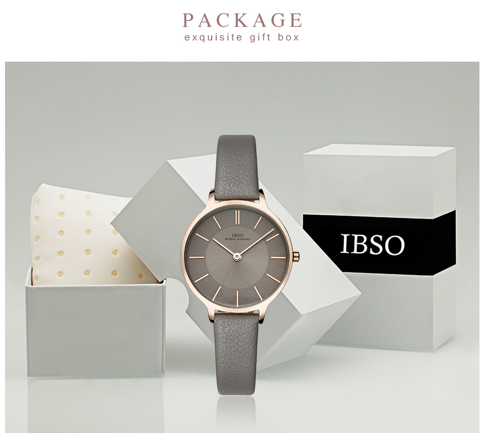IBSO Women Watches Top Brand Luxury Quartz Women's Clock  Ladies Brown Leather Wrist Watch Reloj Mujer Bayan Kol Saati #6608