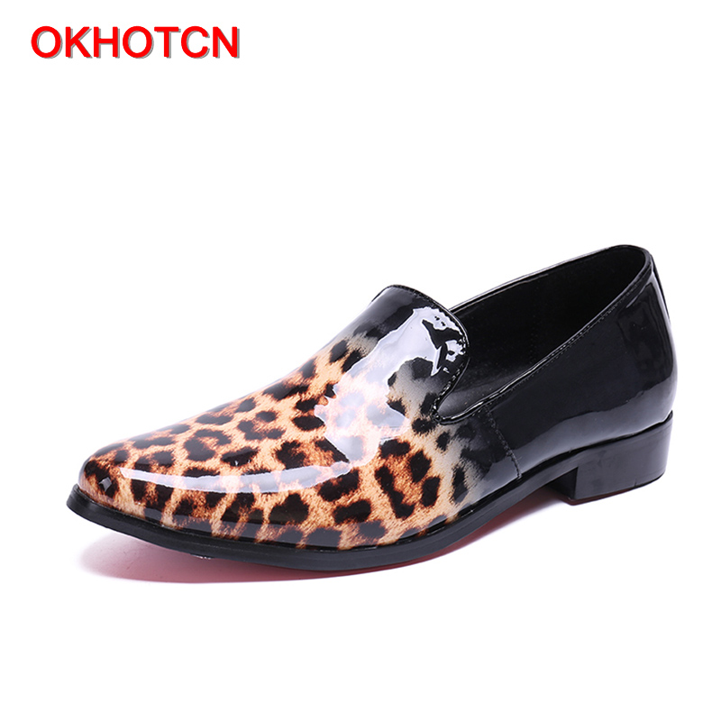 OKHOTCN Patent leather leopard man casual shoes handmade gentleman daily leisure loafers sequin breathable slip on man shoes fashion tassels ornament leopard pattern flat shoes loafers shoes black leopard pair size 38