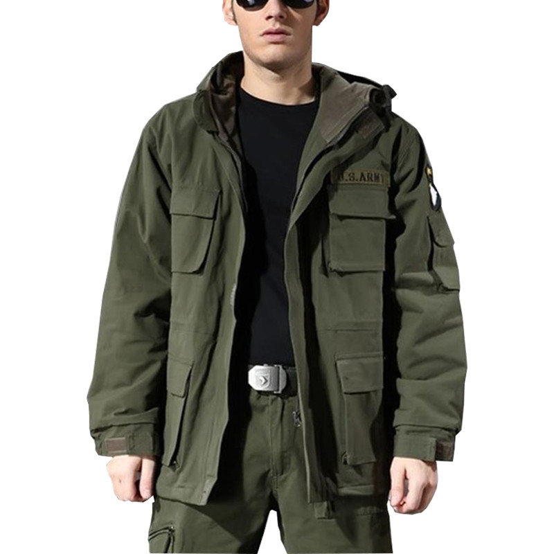 Men s Cotton US Army Military Clothing Hooded Windbreaker Tops Winter Outdoor Climbing Thermal Fleece Lining