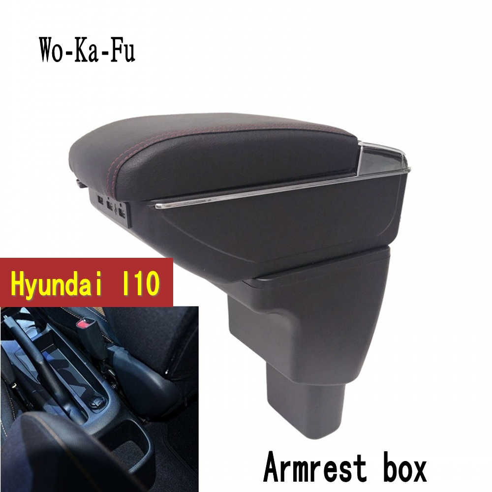 For Hyundai I10 armrest box central Store content Storage box armrest box with cup holder ashtray USB interface 2006~2017