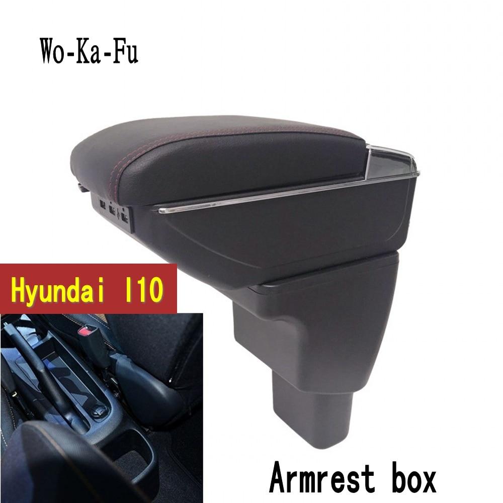 Para Hyundai I10 reposabrazos caja de almacenamiento de contenido de tienda central caja reposabrazos caja con sostenedor de taza Cenicero interfaz USB 2006 ~ 2017