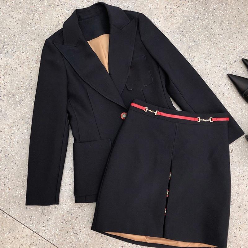 Женская куртка и юбка наборы Осень Зима 2019 женский красный комплект пальто и юбки утолщенные офисные женские шерстяные теплые 2 шт. комплект