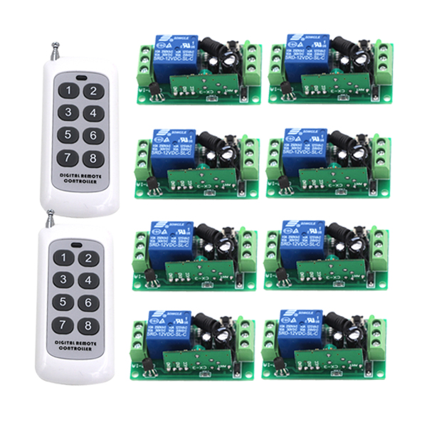 200M 12V 1CH wireless remote control switch 8 receiver board & 2 transmitter remote controller Learning code 315/433MHZ 4291 200m 4ch 4relay 12v wireless remote control switch system1 receiver