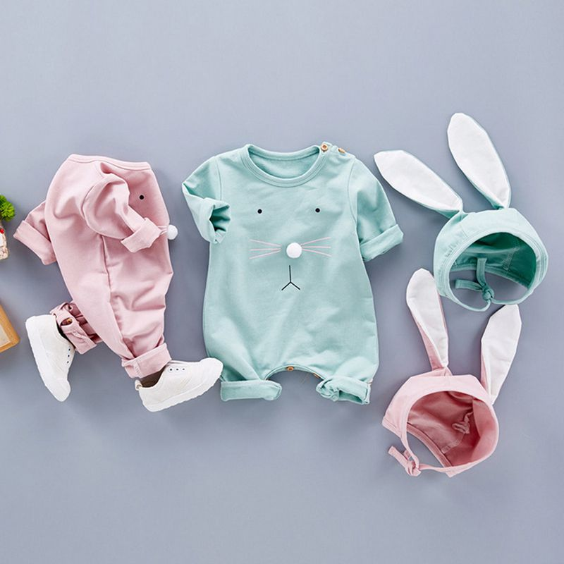 Baby Rabbit Print   Rompers   Spring Powered Baby Boy Girl Clothing Newborn Infant Short Sleeve Clothes Bebe Suit One -Piece