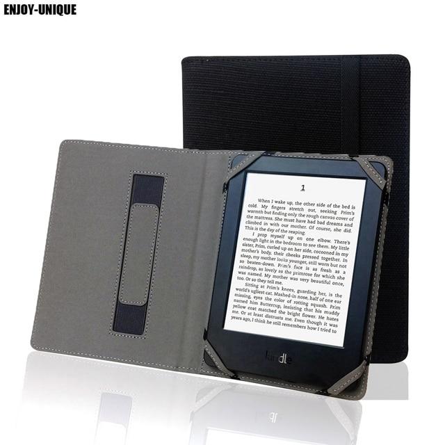Étui en lin naturel pour Kindle Touch 4, 5, 6, 7, 8, avec support pour les mains