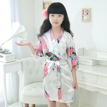 Белое детское цветочное кимоно из искусственного шелка; свадебное платье подружки невесты с цветочным узором для девочек; детский халат; одежда для сна; детская ночная рубашка; JA14