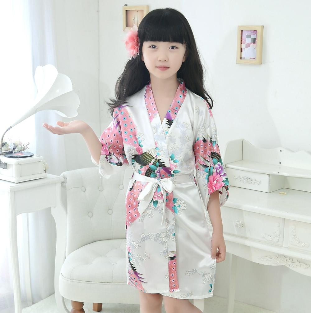 White Kid Rayon Flower Kimono Wedding Bridesmaid Flower Girl Robe Gown Children Bathrobe Sleepwear Baby Child Nightwear JA14