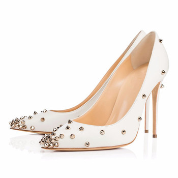 2018 Spring Summer Newest Pointed Toe Pumps Rivet Decoration Heel Shoes Wedding High Heel Pumps Stiletto Heel Shoes TL-A0114