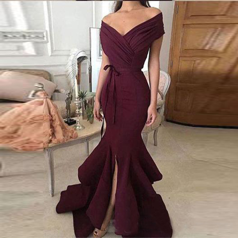 Élégant bordeaux longue sirène robes de bal 2019 Split volants robes de soirée v-cou hors de l'épaule formelle robe de soirée