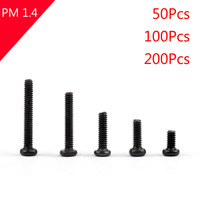 Areyourshop M1.4 Screw 2mm-8mm Black Oxide Phillips Cross Pan Head Machine Small Screw Bolt 50/100/200Pcs Hot Sale Screws