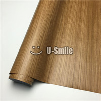 Teak Car Wood Grain Wrap PVC Wood Vinyl For Wall Furniture Car Interior Size 1 24X50m