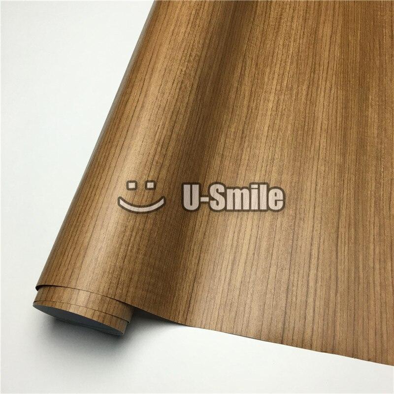 Teck voiture bois Grain Wrap PVC bois vinyle pour mur meubles voiture taille intérieure: 1.24X50 m/rouleau (4ftX165ft)