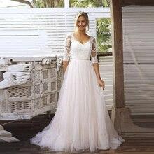 חצי שרוולי כלה שמלת V צוואר תחרת טול חצאית ללא משענת חתונת שמלות Vestido דה Novia 2019 חתונת כותנות Gelinlik