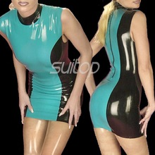 Latex mermaid sheath Dress sexy club dresses  Blue and black color casual Rubber suit