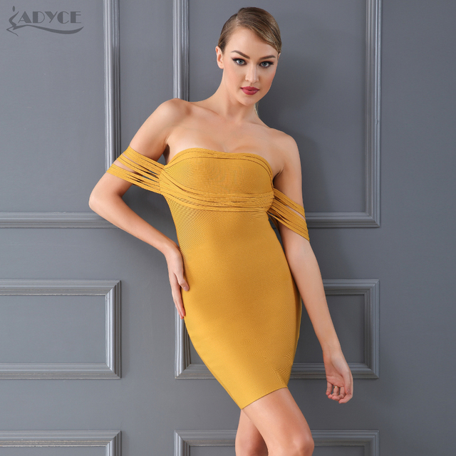 2641aea04a68 Adyce New 2018 Summer Bandage Dress Women Chic Sexy Yellow Off Shoulder  Vestido Bodycon Club Dress Celebrity Evening Party Dress