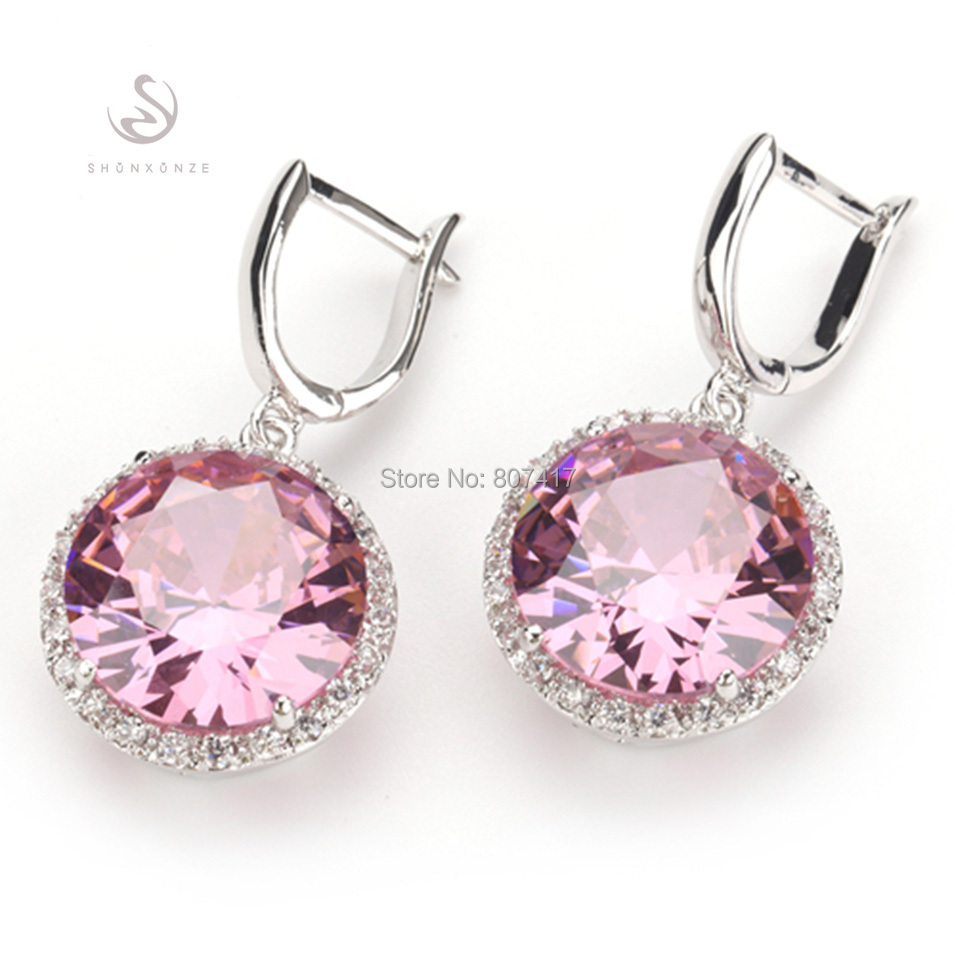 Shunxunze Lovely Round Stud Earrings For Women Jewelery Lady Pink Cubic Zirconia Hyperbole Gifts Silver Plated