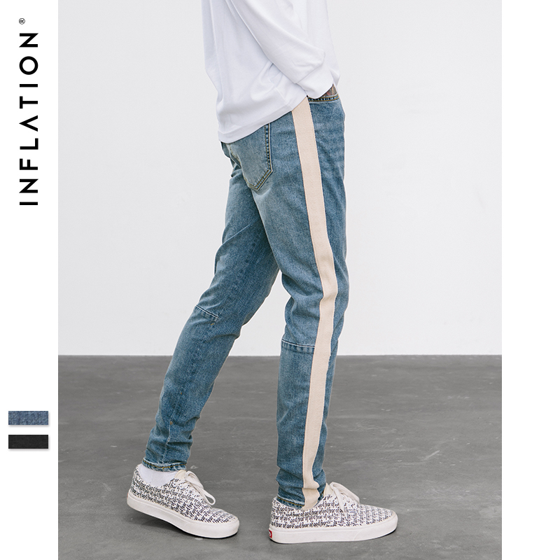 INFLATION Side Tape Skinny   Jeans   High Street Blue Denim   Jeans   For Men Stripe Pants Stripe Ripped Elastic Slim Pencil   Jeans   8883W
