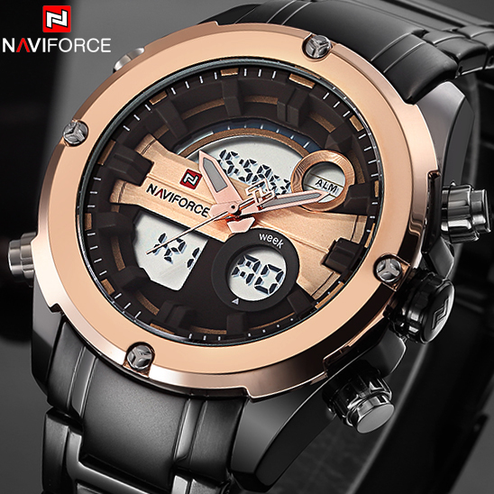 NAVIFORCE Luxury brand Full Steel Watch Men LED Sports Army Military Watches Men's Quartz Analog Digital Watch relogio masculino крем для лица дневной против морщин активный лифтинг 45 garnier 50 мл