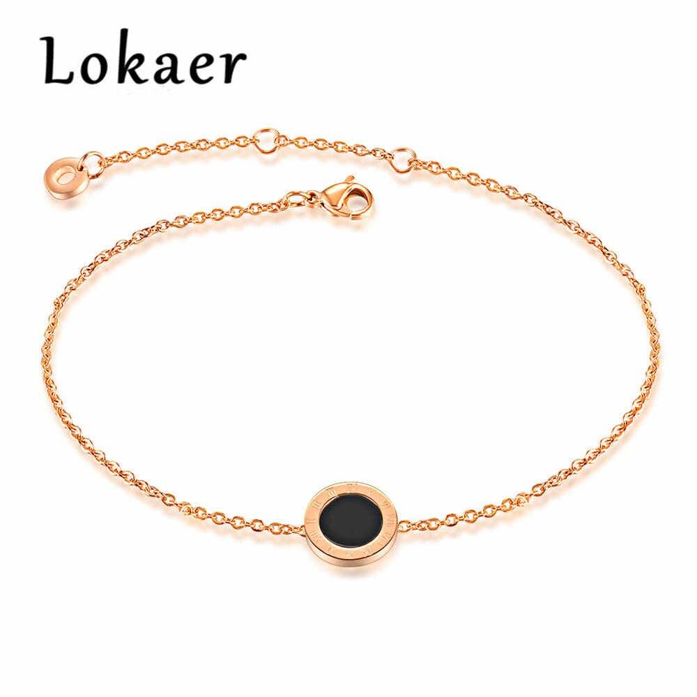 Lokaer модные римские цифры ножной браслет для Для женщин розового золота Цвет ножной браслет Ноги цепочка ножные браслеты для ног Ювелирные изделия OGZ038