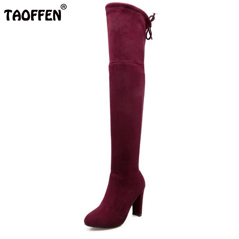 TAOFFEN Women Stretch Faux Suede Slim Thigh High Heel Boots Sexy Over the Knee Boots High Heels Woman Shoes Black Gray Winered women stretch fabric faux suede patchwork sexy thigh high boots comfort block heel female footwear slip on flower printed shoes