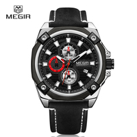 MEGIR Original Watch Men Fashion Quartz Leather Man Watch Auto Date Chronograph Fashion Business Wristwatch Relogio
