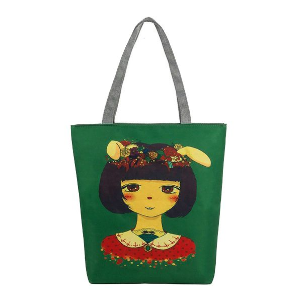 ABDB Dark Green Girls Shoulder Bag Printing Rabbit Ears Lei Pointed Ears Girl Printing Bag Shopping Bag(Short hair girl)