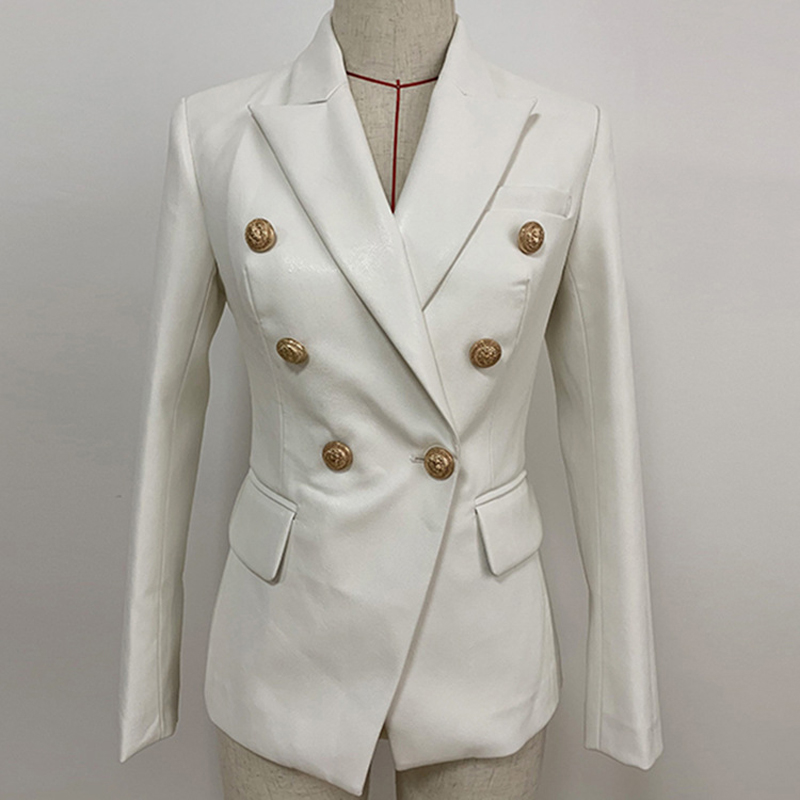 High Quality White PU Leather Jacket Blazer Women Solid Double Breasted Slim Office Lady Faux Leather Blazers Mujer Coat Female in Blazers from Women 39 s Clothing