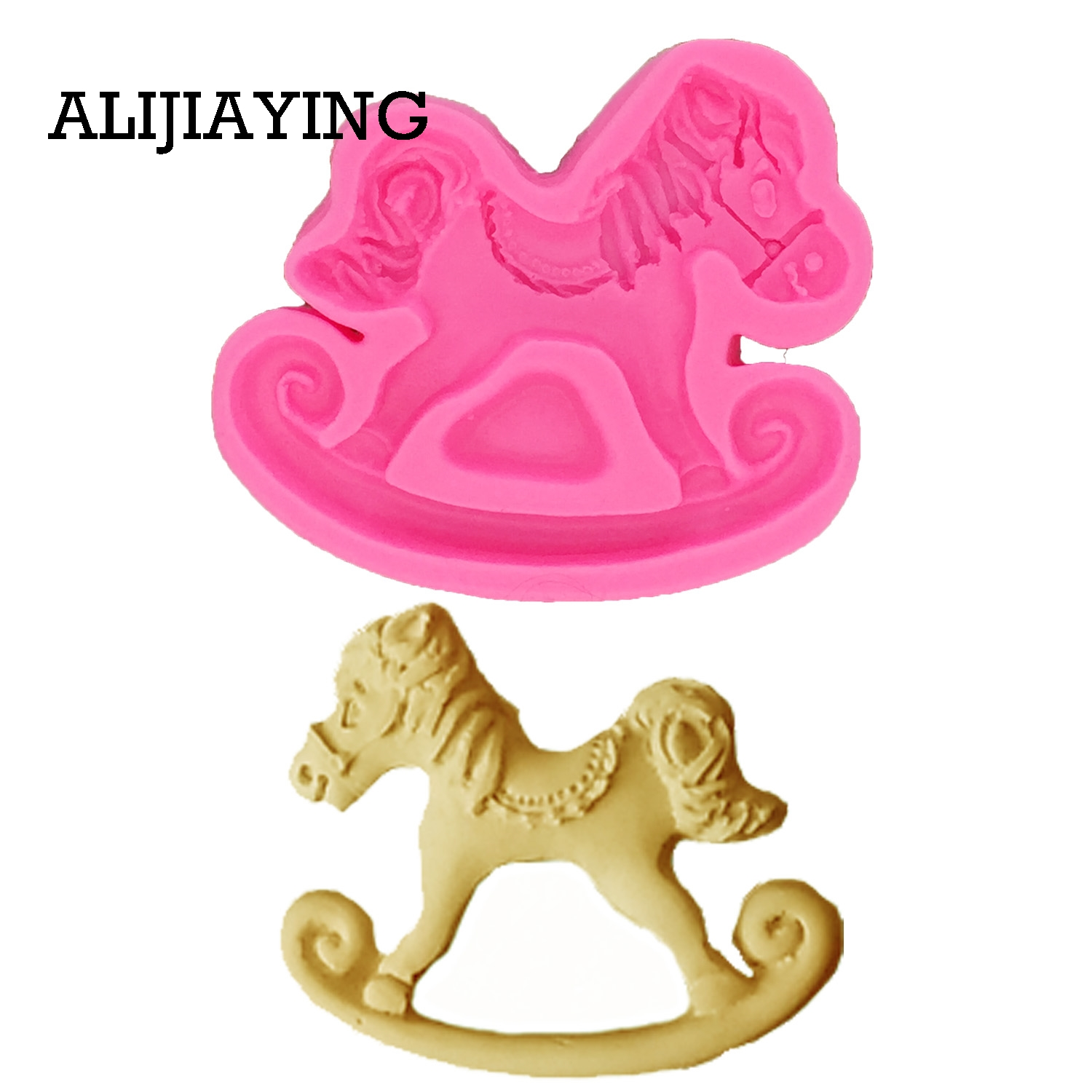 M0731 1Pcs Trojan Horse Modelling For The Baby Shower Favour Gifts Silicone Mold Cake Decorating Tools Fondant Chocolate Moulds