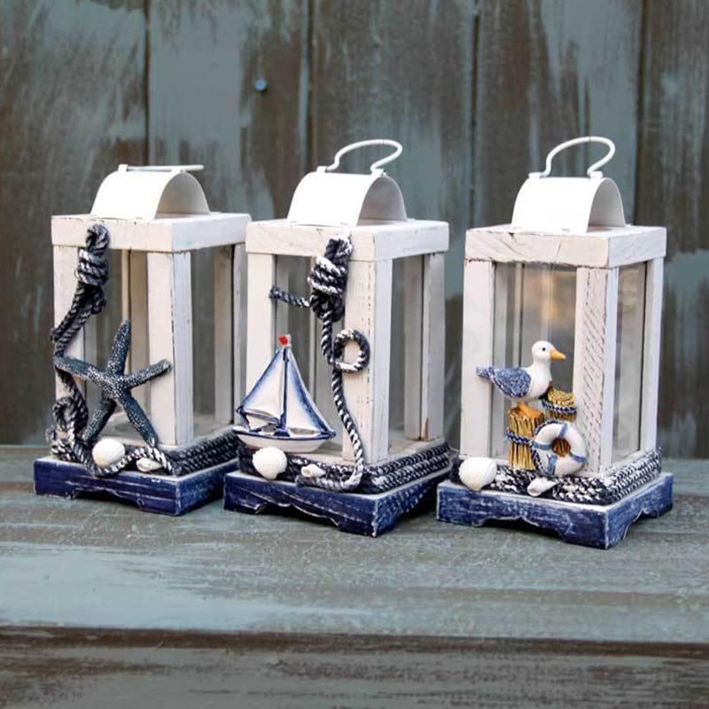 Mediterranean Style Decoration Wooden Handmade Crafts Ornaments Creative Romantic Wind Light Candlestick