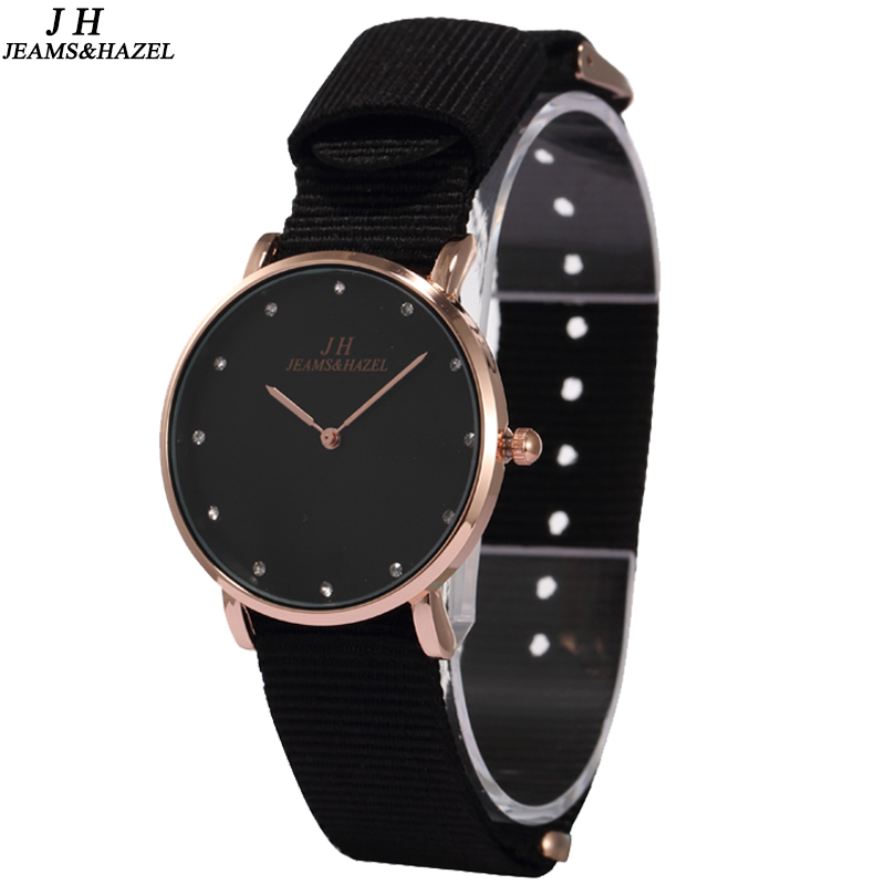 JEAMS & HAZEL svart mode dam slim Bling Rhinestone Luxury armband Kvarts armbandsur Kvinnor