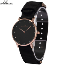 JEAMS&HAZEL black fashion lady slim Bling Rhinestone  Luxury bracelet Quartz wrist Watch Women