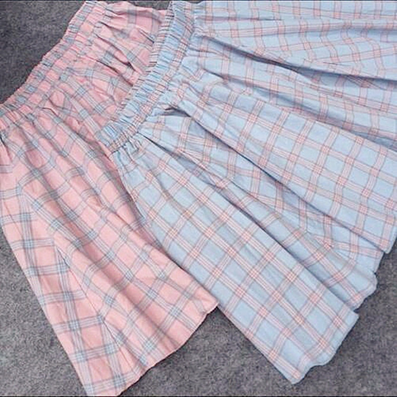 2018 Women Spring Summer Japan Style Causal Plaid Skirts Kawaii The Lattice All-match Mini Skirt Students Big Swing Cut Skirt